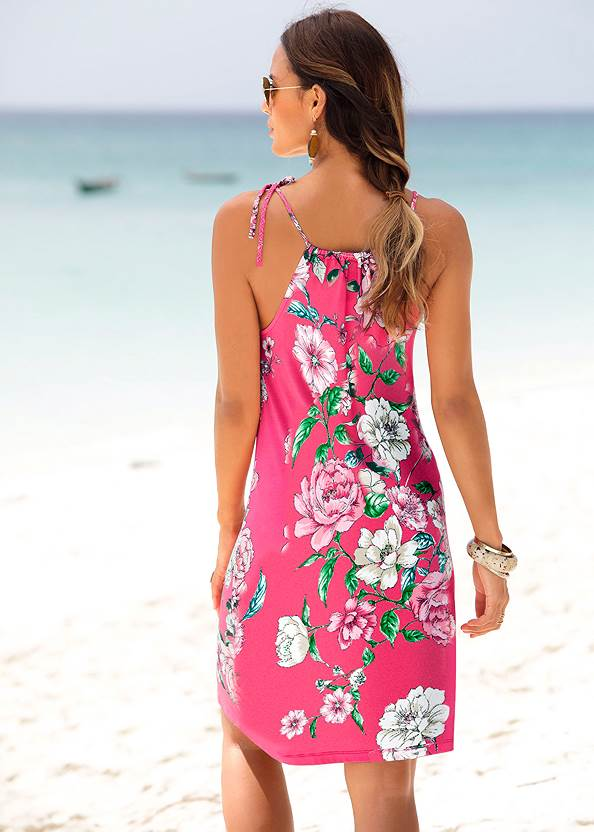 Back View Floral Printed Dress