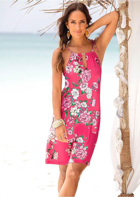 Floral Printed Dress,Multi Color Stone Sandals,Beaded Rattan Hoop Earrings,Animal Print Bangle Set,Macrame Handbag