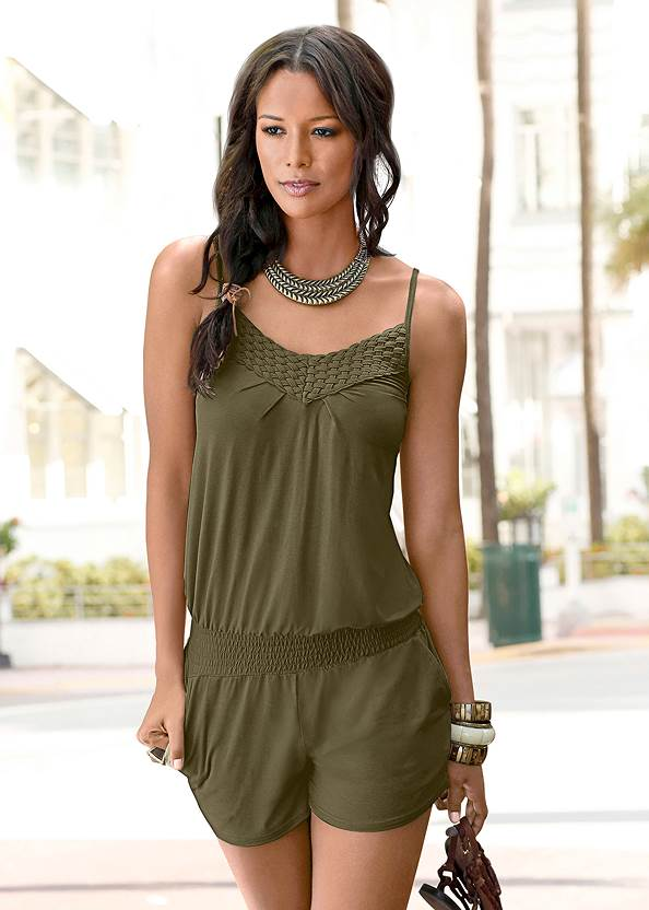 Casual Romper,Double Strap Printed Sandal,Stars Stones Layered Necklace,Natural Tassel Clutch
