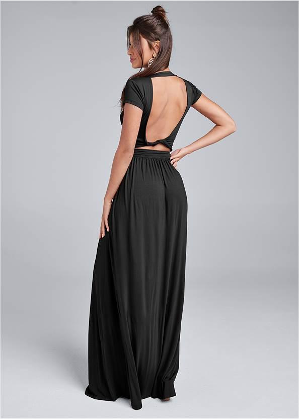 Twist Back Maxi Dress,Double Strap Cork Wedge
