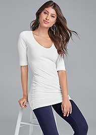 Front view Long And Lean V-Neck Tee