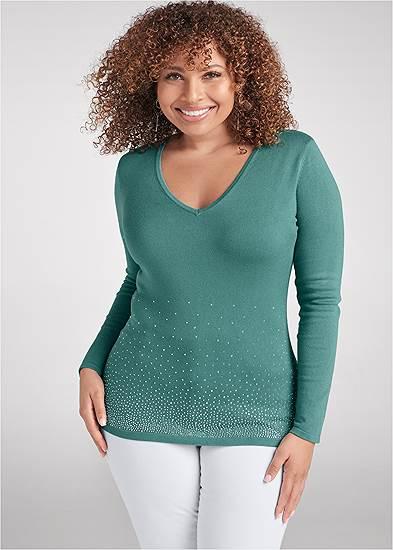 Plus Size Rhinestone V-Neck Sweater