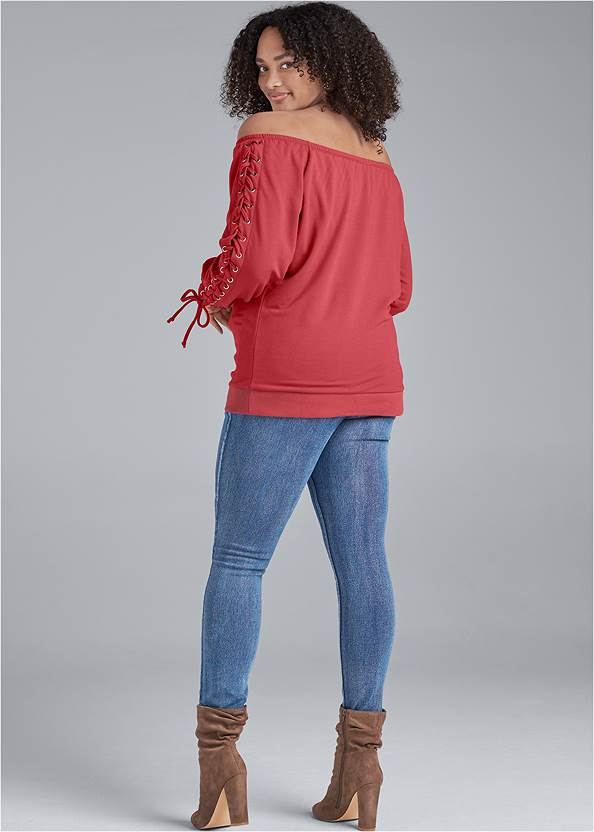 Back View Lace Up Sleeve Sweatshirt