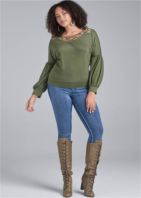 Full Front View Strappy Detail Sweatshirt