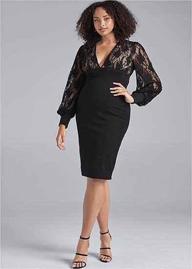 Plus Size Lace Detail Twofer Dress