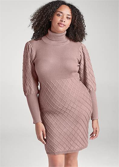 Plus Size Puff Detail Sweater Dress