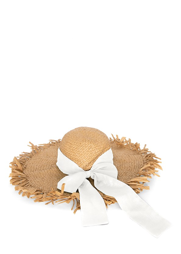 Packable Straw Hat,Ruffle Eyelet Top,Frayed Cut Off Jean Shorts,Lace Up Espadrille Wedge,Beaded Raffia Hoop Earrings