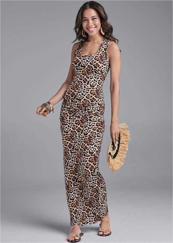 Ruched Tank Maxi Dress,Jewel Toe Loop Lucite Sandal,Push Up Bra,Raffia Tassel Shell Clutch