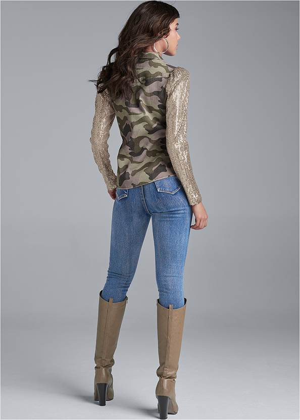 Back View Sequin Sleeve Camo Top