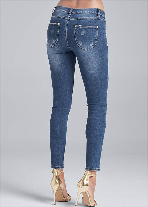 Waist down back view Metallic Leopard Print Jeans