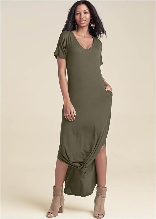 Casual T-Shirt Maxi Dress,Peep Toe Booties,Whipstitch Peep Toe Booties,Boho Chandelier Earrings