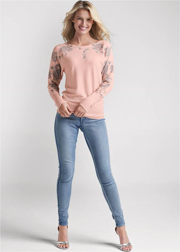 Alternate View Floral Detail Sweater