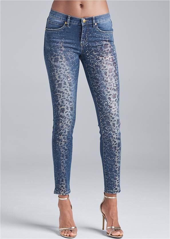 Waist down front view Metallic Leopard Print Jeans