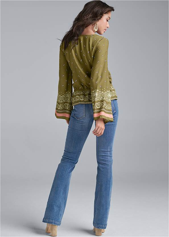 Back View Paisley Bell Sleeve Top