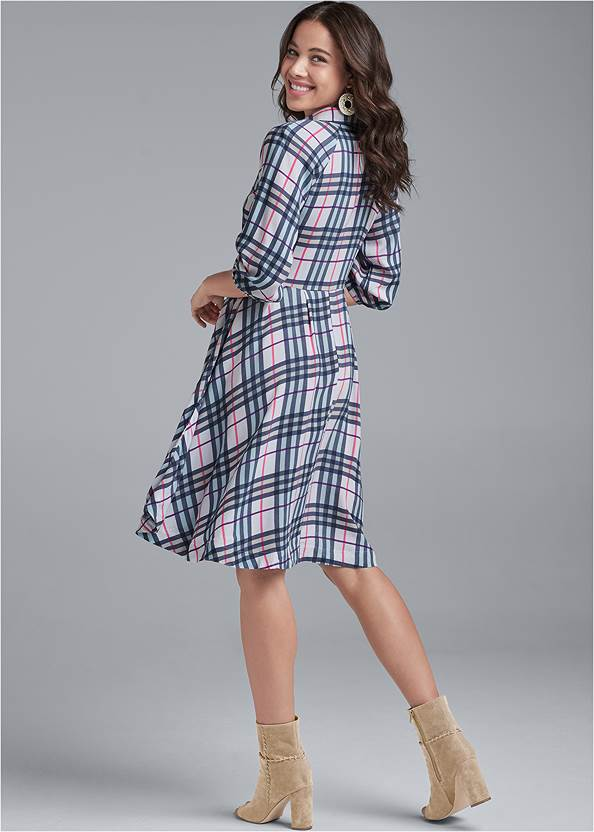 Back View Plaid Button-Down Dress