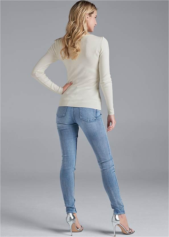 Alternate View Mesh Detail Sweater