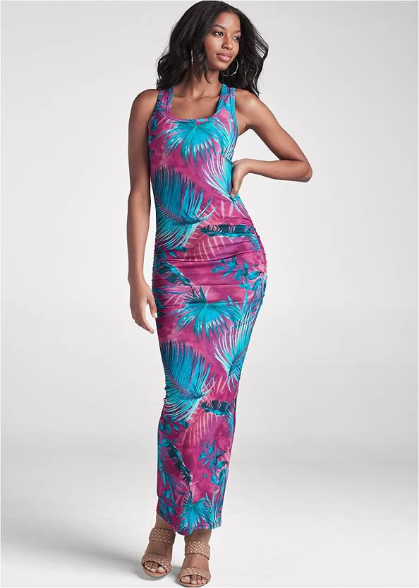 Full Front View Palm Print Maxi Dress