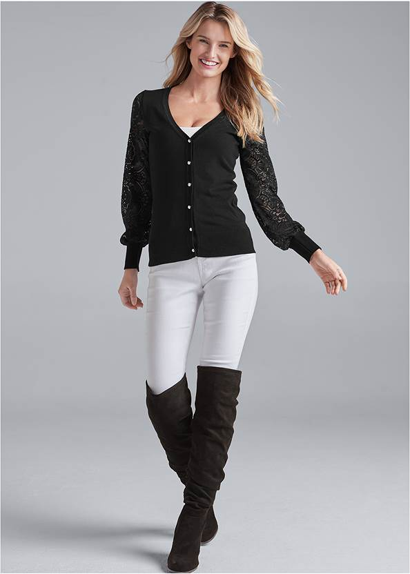 Front View Lace Sleeve Cardigan