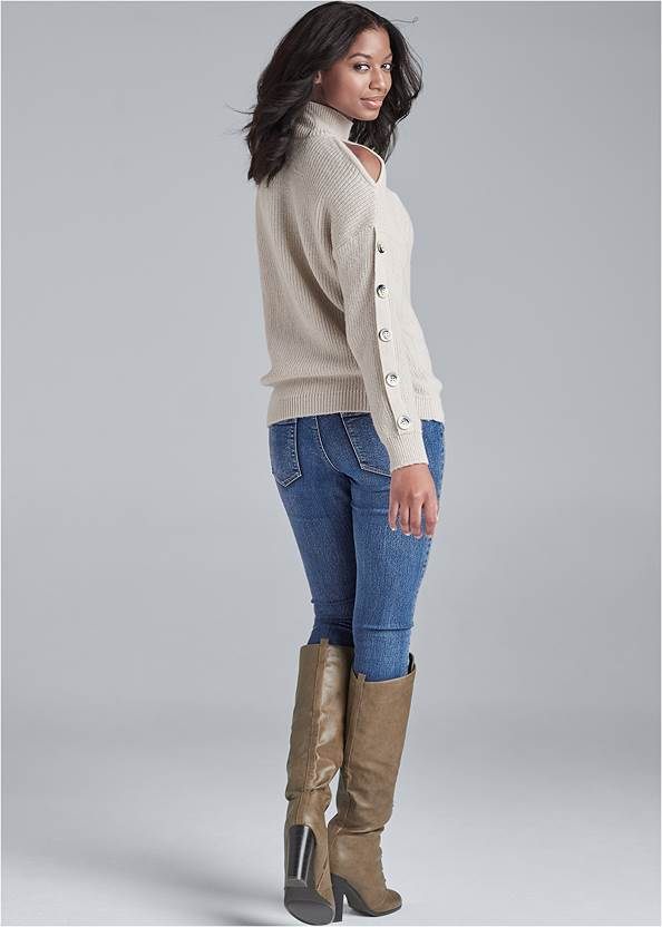 Back View Cold Shoulder Sweater