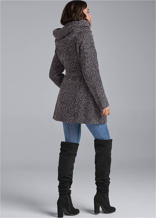 Back View Double Breasted Boucle Coat