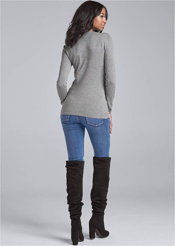 Alternate View Lace Up Detail Sweater