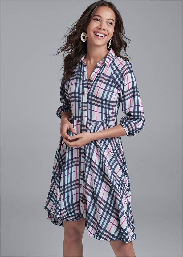 Plaid Button-Down Dress,Pearl By Venus® Lace Bralette,Whipstitch Peep Toe Booties,Raffia Bling Hoop Earrings,Animal Chain Crossbody Bag