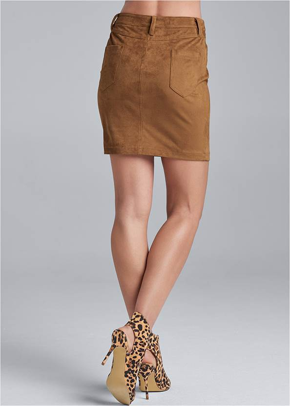 Back View Faux Suede Mini Skirt