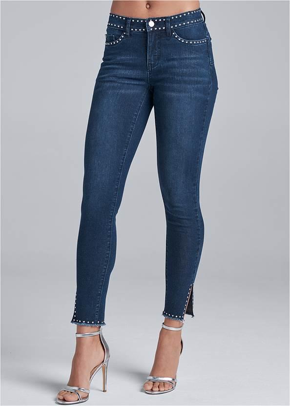 Waist down front view Studded Hem Jeans