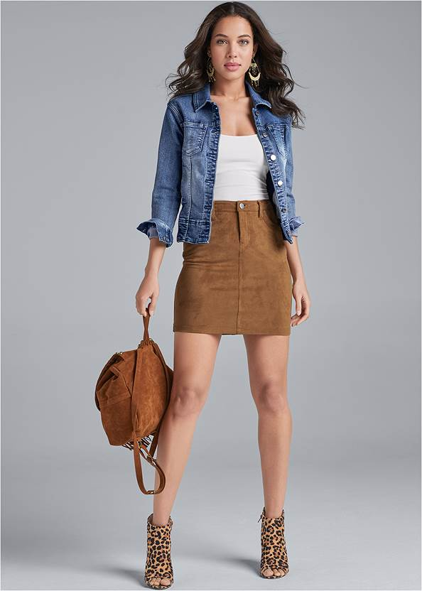 Faux Suede Mini Skirt,Basic Cami Two Pack,Jean Jacket,Peep Toe Print Heels,Boho Chandelier Earrings