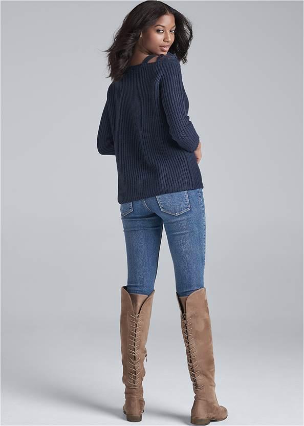 Back View Cold-Shoulder Sweater