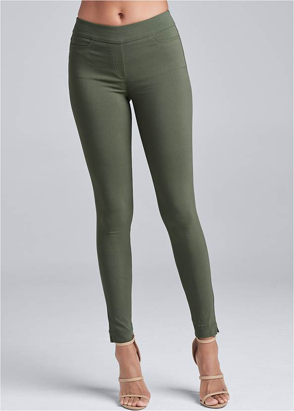 Waist down front view Mid Rise Slimming Stretch Jeggings