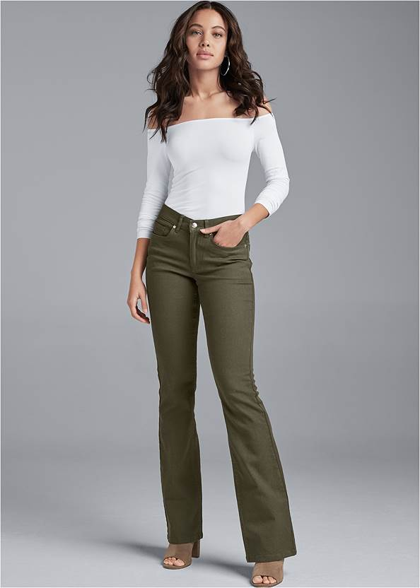 Casual Bootcut Jeans,Off-The-Shoulder Top,Crochet Knot Front Top,Jean Jacket,Whipstitch Peep Toe Booties,Raffia Hoop Earring Set,Leopard Fringe Crossbody