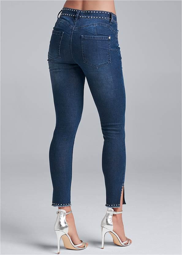 Back View Studded Hem Jeans