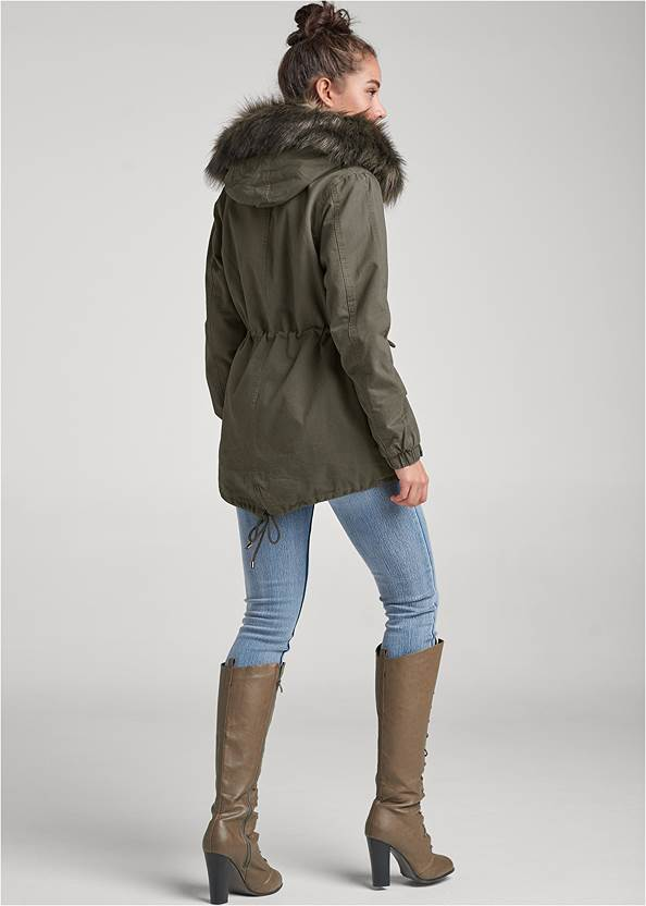 Back View Cargo Jacket With Faux Fur