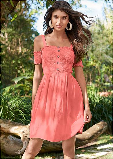 Smocked A-Line Mini Dress