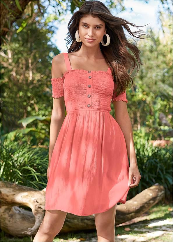 Smocked A-Line Mini Dress,Rhinestone Thong Sandals,Raffia Bling Hoop Earrings