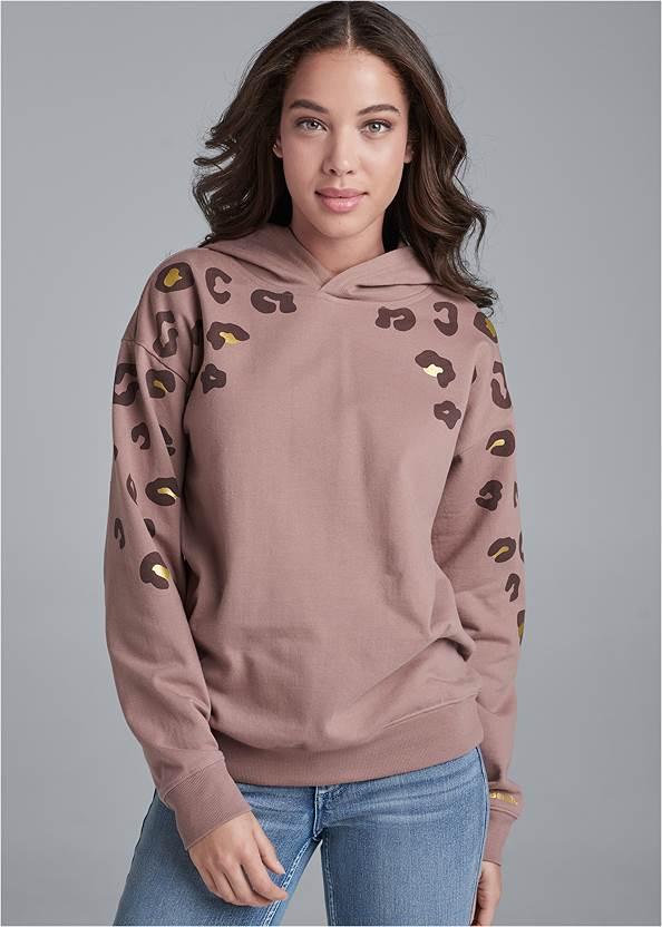 Leopard Sweatshirt,Mid Rise Color Skinny Jeans,Mid Rise Slimming Stretch Jeggings,Rhinestone Net Sneakers,Raffia Hoop Earring Set,Studded Faux Leather Tote