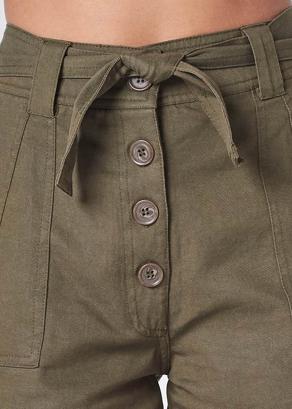 Detail front view Belted Utility Shorts