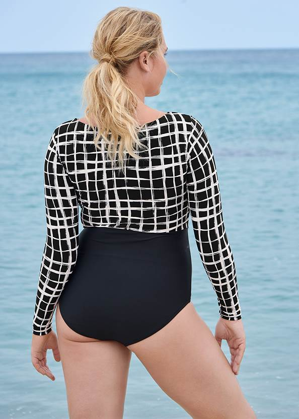Back View Long Sleeve One-Piece