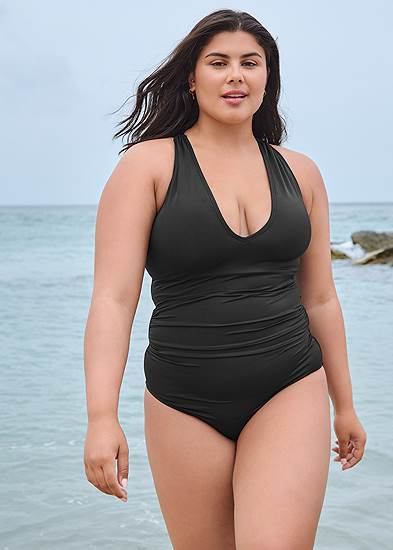 Plus Size Slimming V-Neck One-Piece
