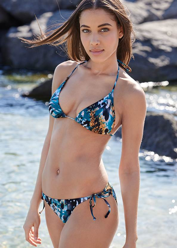 Triangle String Bikini Top,String Side Bikini Bottom,Mid Rise Swim Skirt Bikini Bottom,Low Rise Classic Bikini Bottom ,Scoop Front Classic Bikini Bottom ,Adjustable Side Swim Short,Long Wrap Cover-Up Dress,Raffia Tassel Shell Clutch