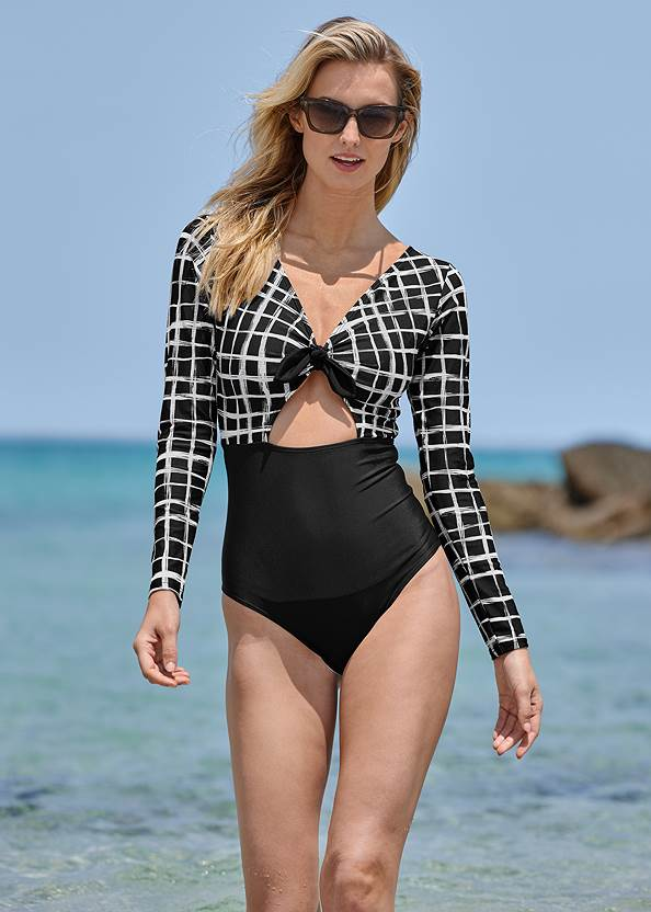 Long Sleeve One-Piece,Ruffled Flowy Cover-Up Pant,Board Short Cover-Up