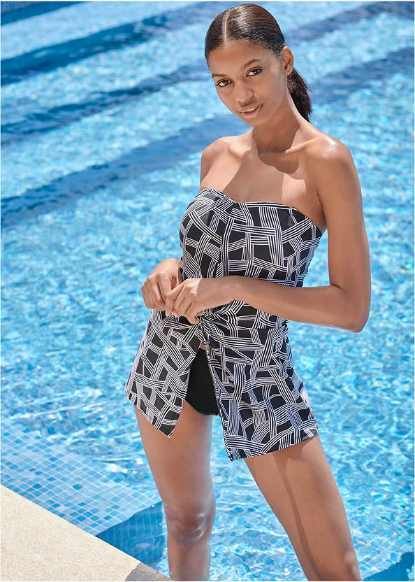 Twist Front Tankini Top,Mid Rise Hipster Classic Bikini Bottom,Swim Short,Adjustable Side Swim Short,Long Wrap Cover-Up Dress,Pleated Tote Bag