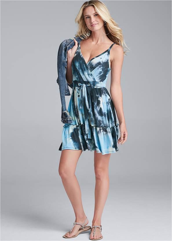 Full Front View Tie Dye Surplice Mini Dress