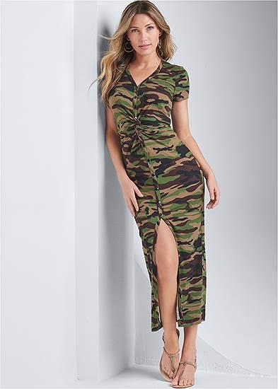 Twist Front Camo Maxi Dress