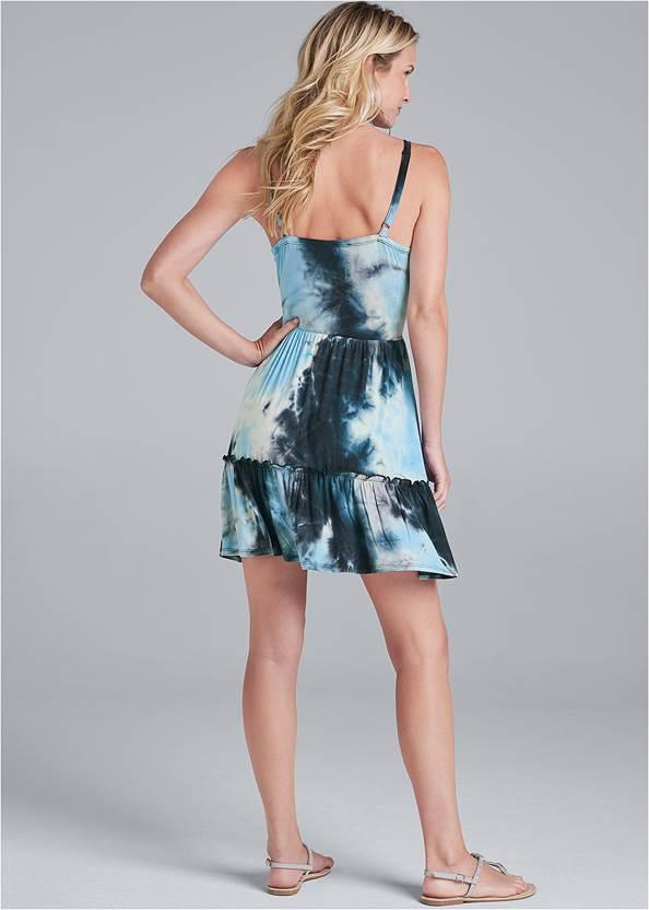 Back View Tie Dye Surplice Mini Dress