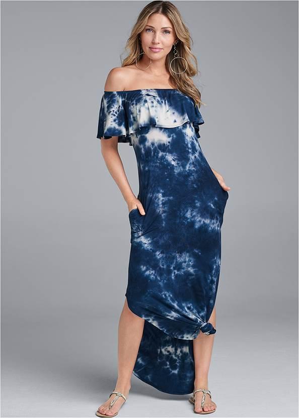 Ruffle Detail Maxi Dress,Twist Hoop Earrings,Net Bag