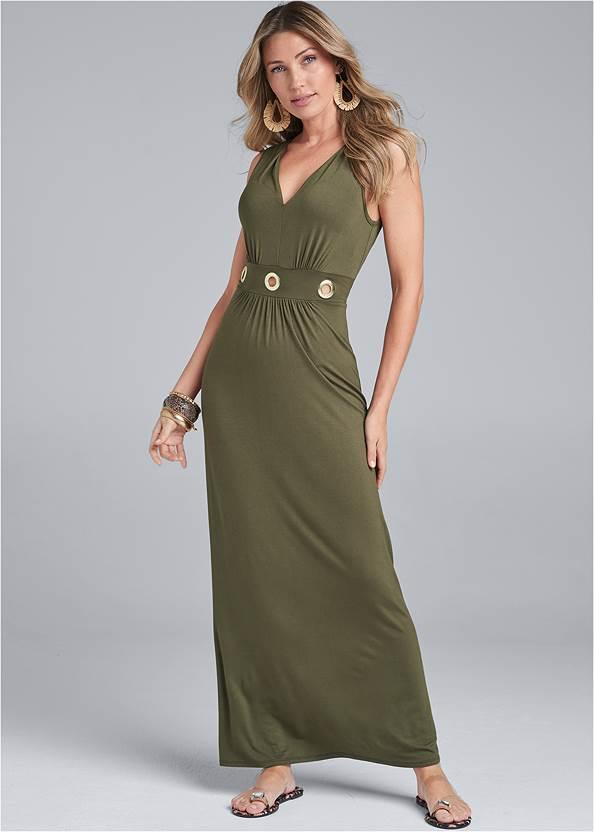 Grommet Detail Maxi Dress,Jewel Toe Loop Lucite Sandals,Embellished Sandals,Circle Basket Wooden Bag