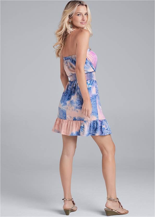 Back View Tie Dye Strapless Mini Dress