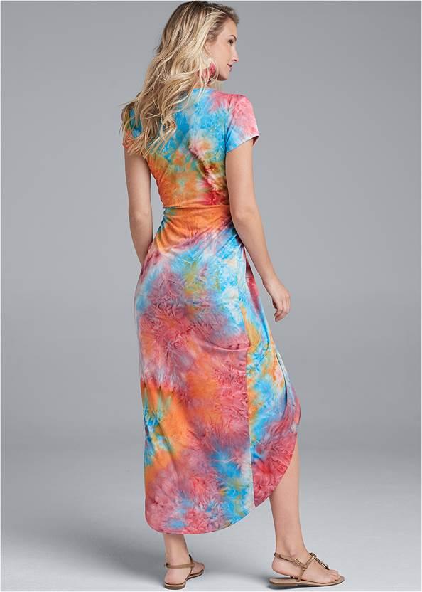 Back View Tie Dye Twist Front Dress